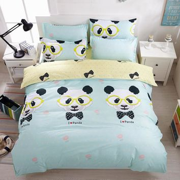 Bedding set Queen size (1pc Duvet cover +1pc bedsheet+2pc pillowcases) 3/4pc Duvet cover sets  Twin Full size Cartoon panda