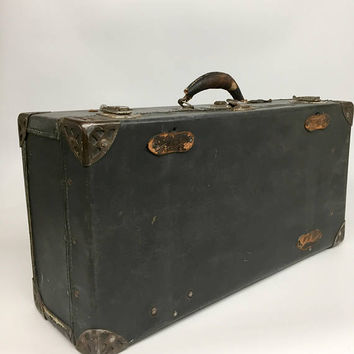 Vintage Luggage, Vintage Suitcase, Aviation Gifts, Antique Suitcase, Excelsior Hardware, Black Suitcase, Mid Century Bag, Shwayder Bros