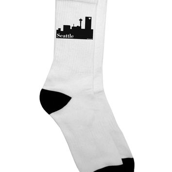 Seattle Skyline with Space Needle Adult Crew Socks by TooLoud