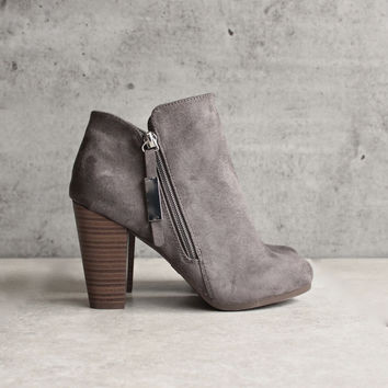 almond toe stacked heel vegan suede booties - grey