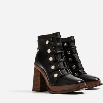 LEATHER HIGH HEEL ANKLE BOOTS WITH WOODEN SOLE DETAILS