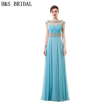 H&S BRIDAL Blue Chiffon Prom Dresses Sheer boat neck Beading Cap Sleeve vestido longo de festa long evening gowns
