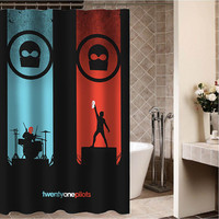 "twenty one pilots Custom Shower curtain,Sizes available size 36""w x 72""h 48""w x 72""h 60""w x 72""h 66""w x 72""h"