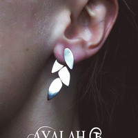 Leaves ear jacket, unique and elegant stud earrings, nature inspired two piece set
