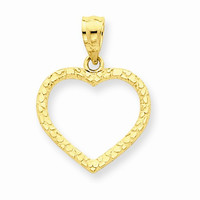 14 Yellow Gold Diamond Cut Nugget Heart Pendant
