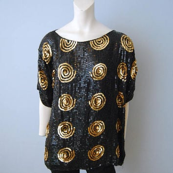 Vintage Silk Sequined Black and Gold Blouse Tunic Swirl Spiral Short Sleeve Shirt Dressy Glitz Sparkles Plus Sized 18/20