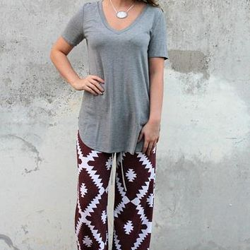 Sweet Dreams Lounge Pants in Maroon Aztec