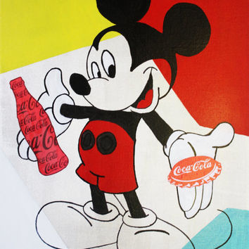 ART Collections Mickey Mouse Coca-Cola Bottle & Capsule Vintage Colors Modern Painting Art Deco Contemporary Acrylic By Kathleen Artist Pro