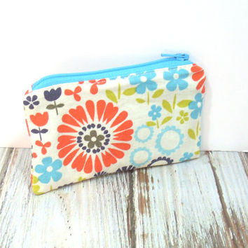 Floral Coin Purse, Aqua Change Purse, Small Zipper Bag, Mini Card Wallet