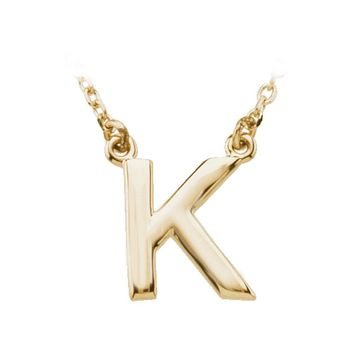 14K Yellow Gold, Kendall Collection, Block Initial K Necklace, 16 Inch