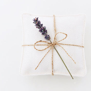 Ivory Herringbone Lavender Sachets, Neutral Modern Decor