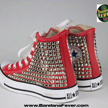 Bandana Fever Custom Studded Red Converse All-Star Chuck Taylor Hi Silver Pyramid Studs Sides