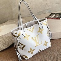 Louis Vuitton LV Newest Fashionable Women Shopping Bag Leather Shoulder Bag Handbag Satchel White