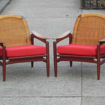 Pair Danish Teak Floating Caned-Back Red Chairs