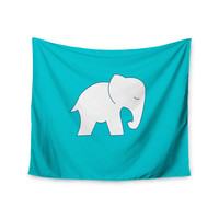"NL Designs ""Cute Blue White Elephant"" Animals Blue Wall Tapestry"