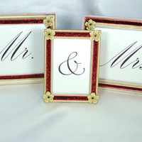 Mr & Mrs Wedding Sign Picture Frames Gold and Red with Flower and Rhinestone Embellishments 5X7 and 3.5 X 5