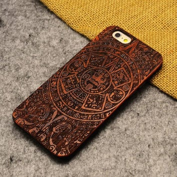 God Totem Wood Case Retro Wooden New Cover Carving flower Patterns Wood Slice Plastic Edges Back Cover for Iphone 6 case iPhone 6 Plus