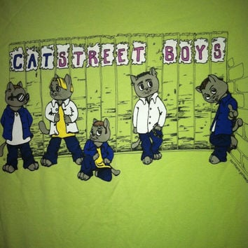 Catstreet Boys 90s Backstreet Boys BSB Boy Band lime green vintage tshirt