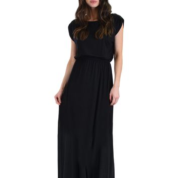 Lyss Loo Timeless Black Maxi Dress With Elastic Waist & Side Slit