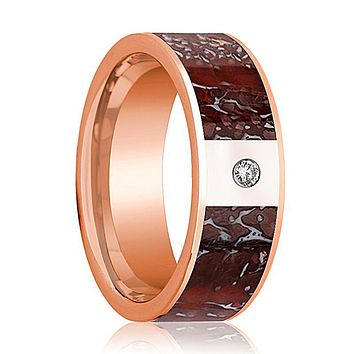ARROW Red Dinosaur Bone Inlaid 14k Rose Gold Men's Wedding Band with Diamond Flat Polished Design - 8MM