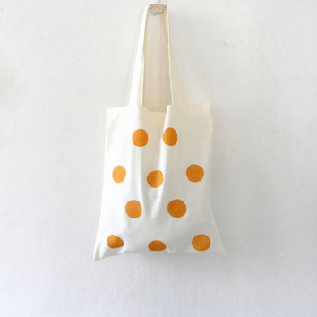 Cotton Tote Bag , Golden Dots  - Hand Stenciled, CT7003