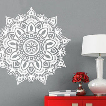Mandala Wall Decal Ornament Geometric Indian Moroccan Pattern Namaste Yoga C69