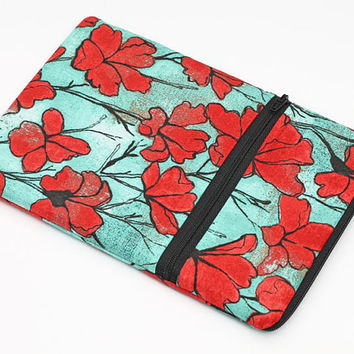 "7"" Tablet Case, iPad Mini with Retina Display Zip Case, Zipper Kindle Paperwhite Case, Handmade Fabric Ereader Case- red flowers in teal"
