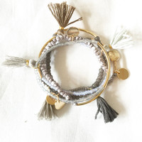 Thin Beaded Tassel Bracelet with Flhair Tag and Gold Metal Bar Arm Candy Stack Single Bracelet Stackable
