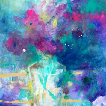 "Abstract Floral Still Life, Colorful, Blue, Purple, Flowers in a Vase ""Evening Bouquet"" 30x24"""