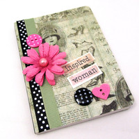 Inspired Woman Mini Journal - Mini Notebook - Vintage Style - Vivid Pink - Black and White Polka Dots - Fashion Journal