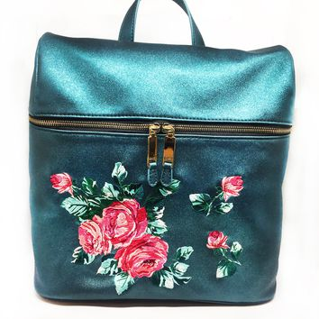 Teal Glitter Embroidered Backpack