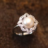 Pearl Ring Square Crystal Plain Open Ring Adjustable Ring Jewelry Silver Plated Gift Idea
