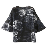 Black Floral V Neck Half Bell Sleeve Blouse