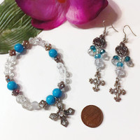 Blue Beaded Cross Jewelry Set, Cross charms, Christian jewelry, baptism gifts, bridal jewelry, something blue, Easter jewelry, gift ideas,