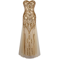 Angel-fashions Strapless Sequined A-line Tulle Lace up Long Evening Dresses vestidos de noche Golden & Silver