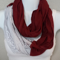 Wine Colored with Grey Lace Infinity Scarf Color Blocked Scarf Spring Scarf Womens Scarf Lace Scarf Knit Circle Scarf Fashion Eternity Loop