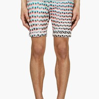 Paul Smith Teal And Orange Print Shorts