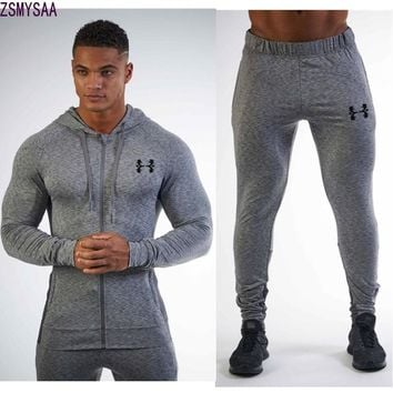 2017Men's Sets 2 Pieces Sweatsuits Mens Tracksuit Pullover Hoodie and Pants Strips Hooded Sweatshirt Sportswear Mens Clothing