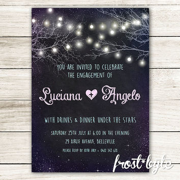 Tree Lights Engagement Party Invitation - chalkboard galaxy design - wedding engaged special occasion night party hipster - digital file