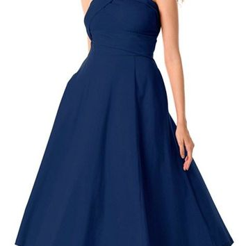 Navy Asymmetric One Shoulder Flared Formal Midi Dress