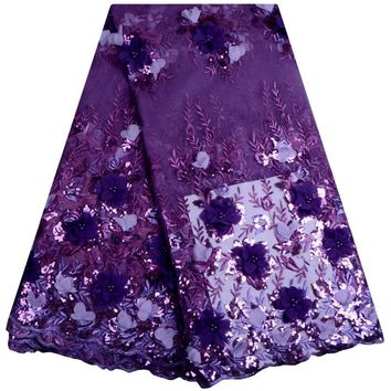 3D Flower Fabric High Quality Purple Lace Fabric With Beads And Sequins 5 Yards African French Lace Fabric For Party Dress 888