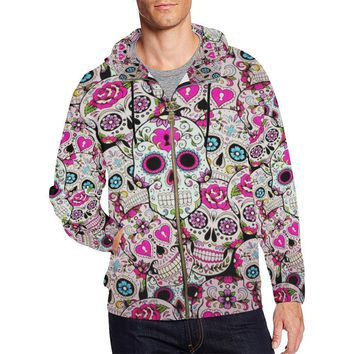 Sugar Skull Design 2 Men's All Over Print Full Zip Hoodie