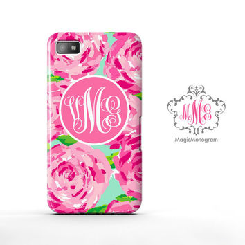 Rose First Impression Pink Lilly Pulitzer Monogram Blackberry Case Z10, BB Q10 Case