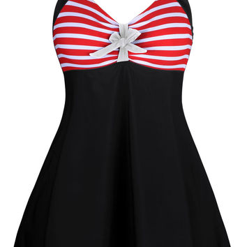 Red White Stripes and Bow Black One-piece Swimdress