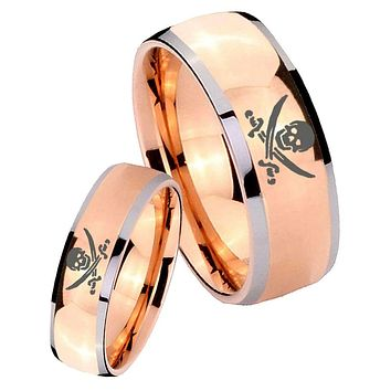 His Hers Rose Gold Dome Skull Pirate Two Tone Tungsten Wedding Rings Set