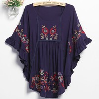 Sleeves Flowers Embroidery Falbala Tops