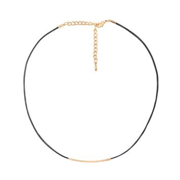 Skinny Black Cord Choker with Sliding Bar Necklace