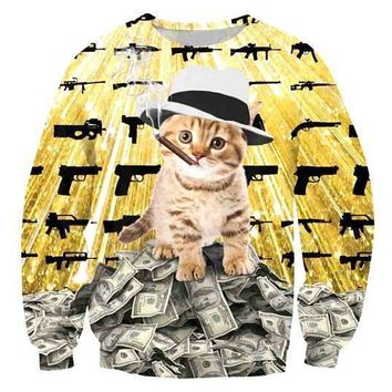 Gangster Kitty Cat on Piles of Cash with Guns and Cigar Print Unisex Pullover Sweater
