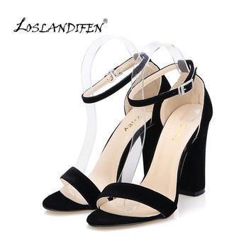 Newest Women Pumps Open Toe Sexy Ankle Straps High Heels Shoes Summer Ladies Bridal Su