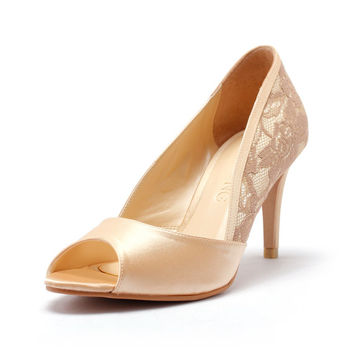 Emma Lace, Champagne Peep Toe Court Shoes, Champagne Gold Bridal Heels, Champagne Gold Wedding Heels, Three & a Half Inch Lace Dinner Heels